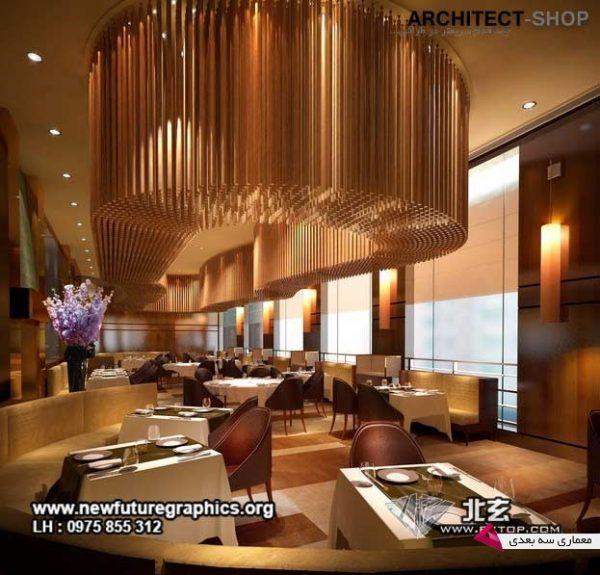 مدل سه بعدی دکوراسیون رستوران