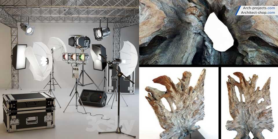 مدل سه بعدی لوازم عکاسی