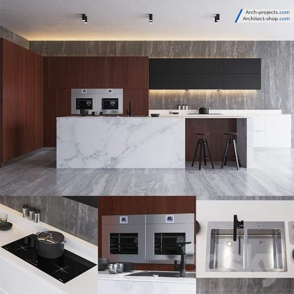مدل کابینت آشپزخانه تری دی مکس