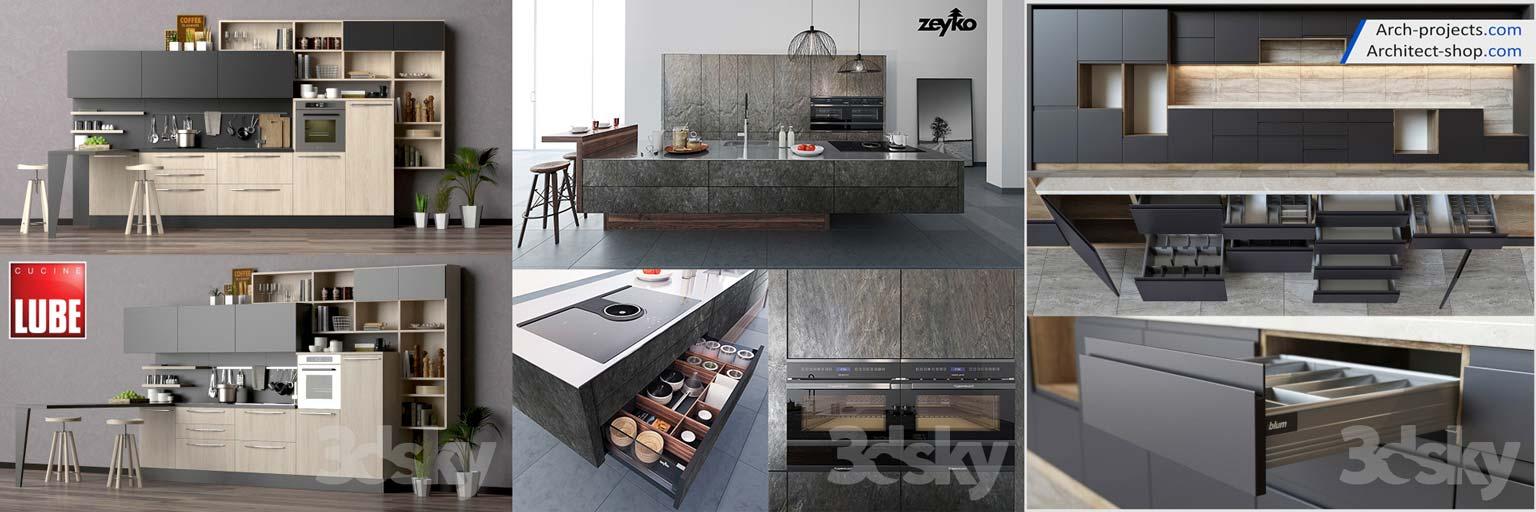 پک مدل سه بعدی کابینت و لوازم آشپزخانه