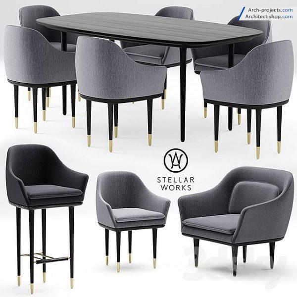 پک مدل سه بعدی مبلمان ، میز و صندلی
