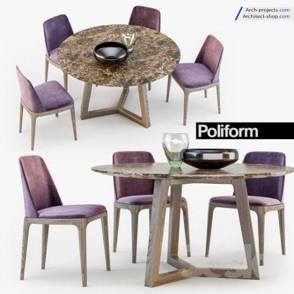 مدل سه بعدی میز و صندلی نهارخوری