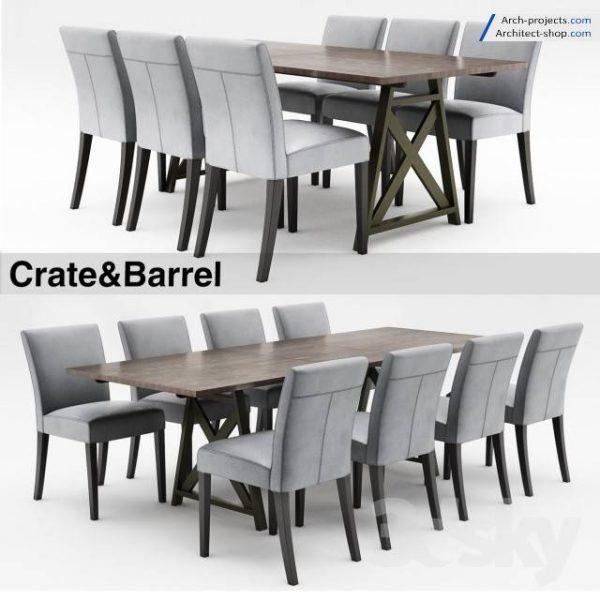 مدل سه بعدی میز و صندلی تری دی مکس