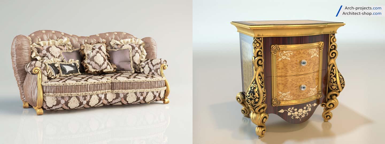 مدل سه بعدی مبلمان کلاسیک