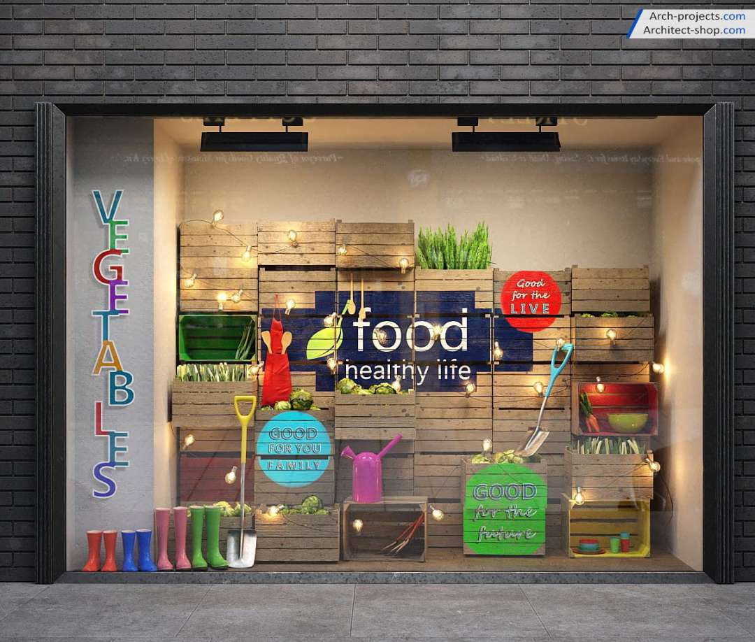 مدل سه بعدی ویترین مغازه