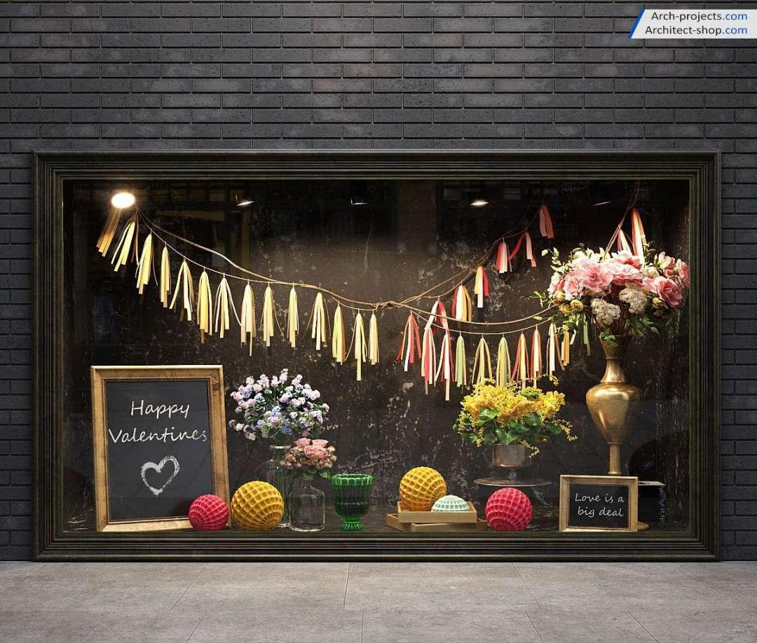 مدل سه بعدی ویترین فروشگاه و مغازه